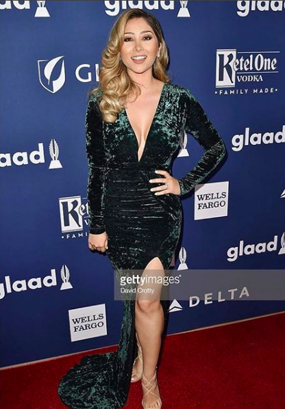 @youtube  star  @joannazanella  looking super Glamorous at the  @glaad  awards red carpet wearing our designers  @evamejl   @sambacjewelry styled by  #teambitton   @aarongomezp fashion provided by  #ivanbittonstylehouse  #celebrity  #style  #fashion  #glaad  #youtube
