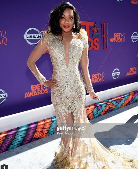 American actress  @tiffanyhines  gracing the  @bet  awards red carpet wearing our designers  @patricia_nascimento  and jewlery made by  @sambacjewelry  styled by  @ashantimozelle  fashion provided by  #ivanbittonstylehouse  #fashiondesigners  #style  #celebrity