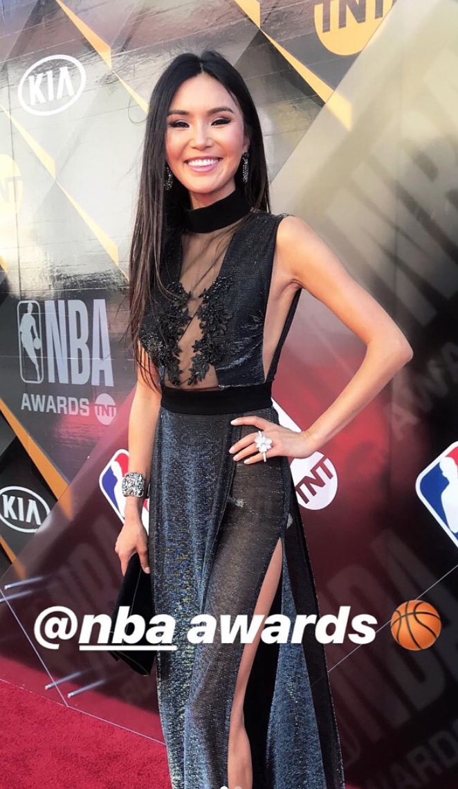 Sport super star  @pingponggirl  looking incredible at the  @nba  awards red carpet wearing our designers  @jontedesigns   @sambacjewelry and  @kilame  styled by  @aarongomezp fashion provided by  #ivanbittonstylehouse  #style  #celebrity  #fashion  #nba