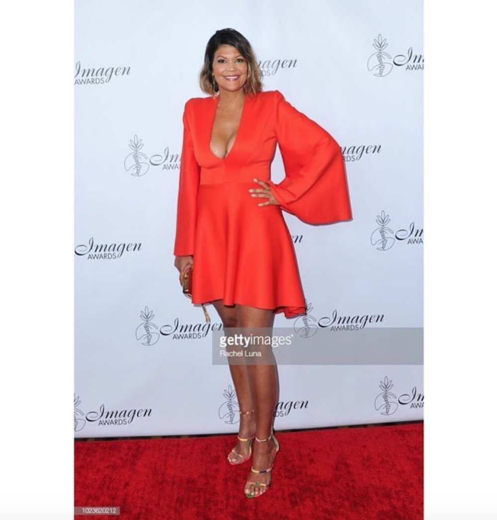 @nbc  comedian and star of hit show  #truthserumwithaidarodriguez  is Aida Rodriguez  @funnyaida  attending and presenting the 2018  #imagenawards  in a fantastic orange dress by our Australian designer  @aelkemi_inc  (managed by  @a.us_official  ) clutch made by  @laureldewitt  Styled by  @bluecollarsquad Fashion provided by  #ivanbittonstylehouse