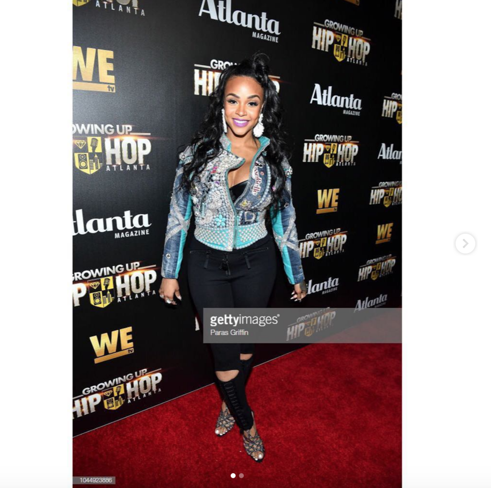 @wetv  star @masikakalysha  slay the  @guhh_wetv premier red carpet with  @bravotv  star  @cynthiabailey10  wearing a bedazzled custom jacket made by our designer  @jessebelleboutique  styled by  @ryanisstyle  fashion provided by  #ivanbittonstylehouse