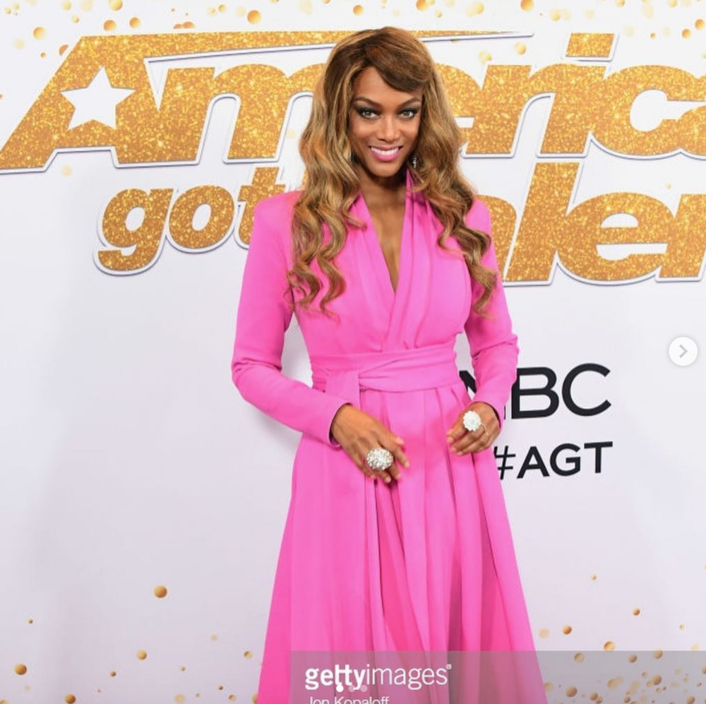 American super star  @tyrabanks  hosting  @nbc  biggest show  @agt  showing off our fabulous jewelry designer  @sambacjewelry 's earrings and ring styled by  @JStyleLA  fashion provided by  #ivanbittonstylehouse