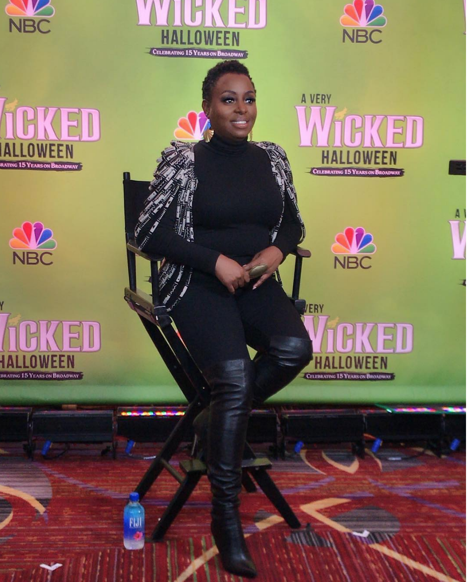 Spotted! singing sensation @ledisi doing a press tour to promote her @nbc 's musical @wicked_musical coming up this Halloween . She is wearing an amazing shoulder piece by our African designer @aphiasakyi (managed by @elenanazaroff ) styled by @goldeeluxe fashion provided by #ivanbittonstylehouse