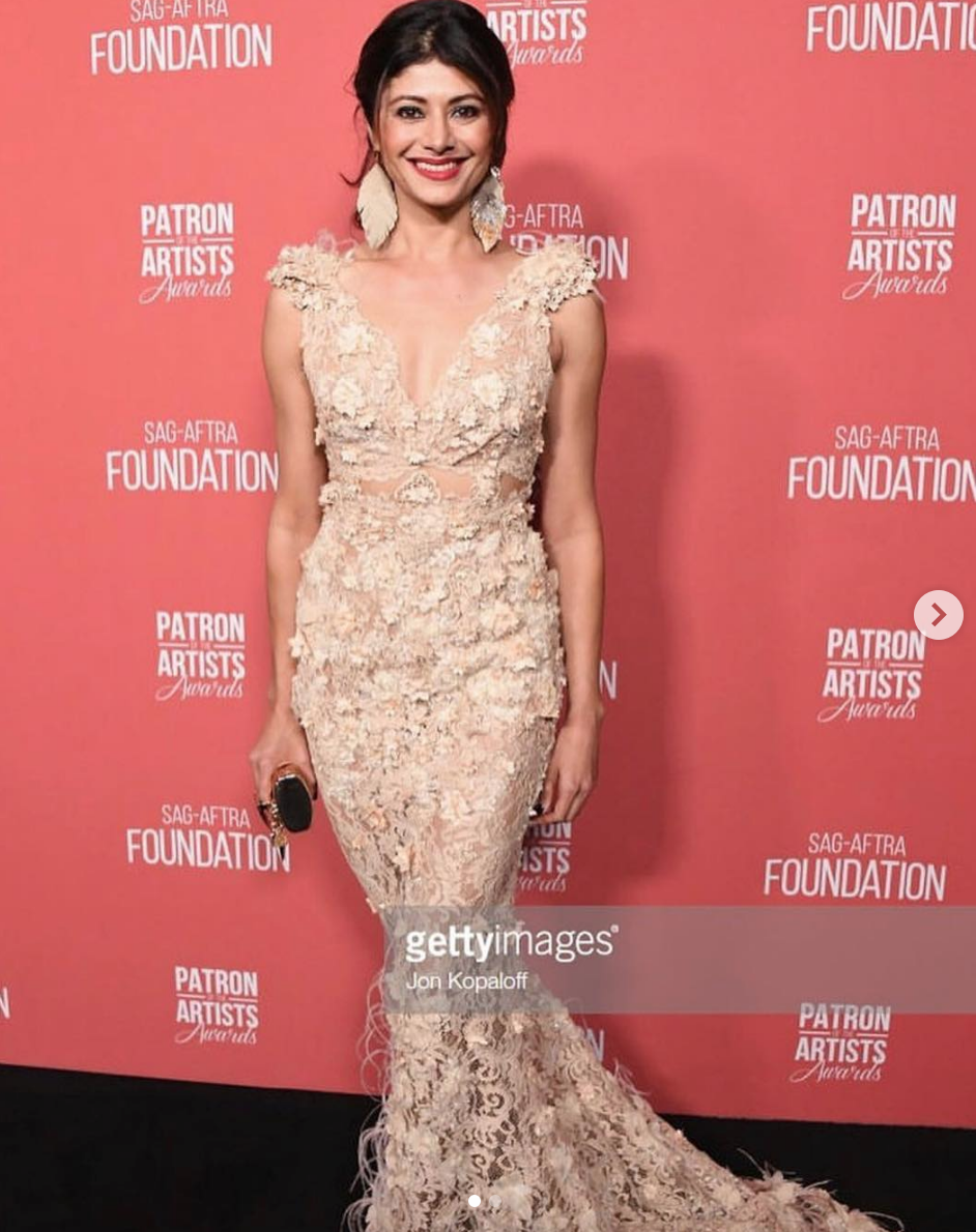 The gorgeous Miss India and international sensation  @poojabatra  looking beyond dashing at the  @sagaftrafound  red carpet in Hollywood wearing a dress by our French designer  @hayariparis  and a clutch by our designer  @laureldewitt  and earrings by our designer  @jessebelleboutique  Styled by  #teambitton  @mareeyuhh._  Fashion provided by  #ivanbittonstylehouse