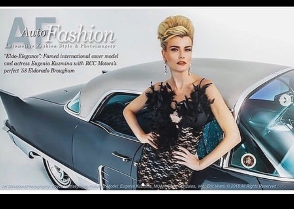 Cover girl superstar  @eugeniakuzmina  looking phenomenal wearing our designers  @novoselsavic  and  @hayariparis  against 'the finest automobile in the world' the RCC 1958 Cadillac Eldorado for  @autofashionbyroycer924 Styled by  #teambitton   @scyberclops Fashion provided by  #ivanbittonstylehouse