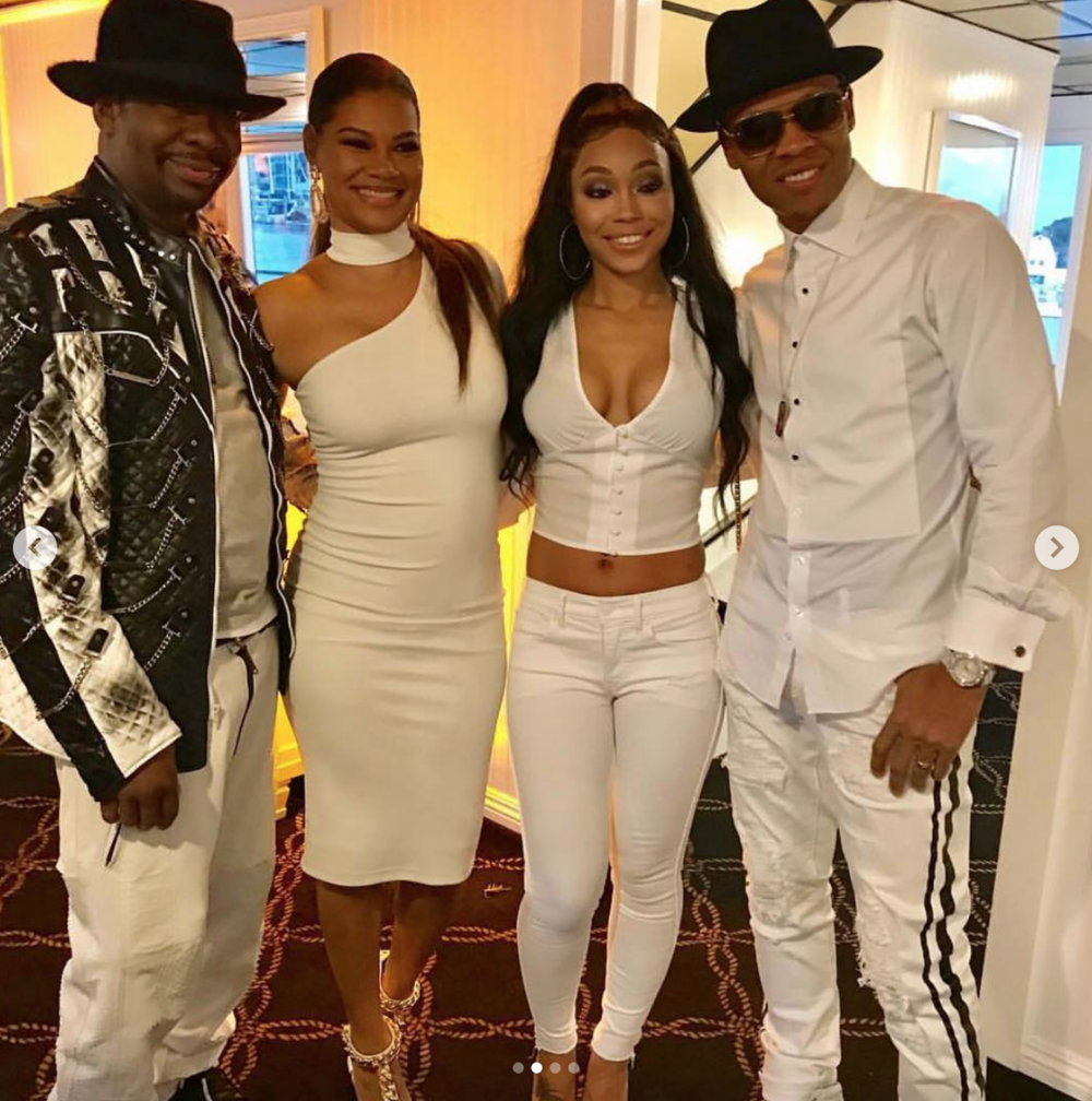 Legendary  @kingbobbybrown  celebrating his 50th birthday in a jacket by our designer  @kaptainofhollywood  with his lovely wife  @aliciaetheredgebrown  wearing a dress by our designers  @halebob_official  and  @rougebyroojamir  All Styled and fashion provided by  #ivanbittonstylehouse