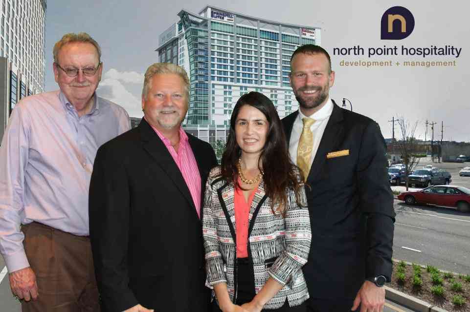 The Acumen Development Team attending the Tri-Brand Marriott Hotel Groundbreaking. From right to left: Gary Womack - Managing Principal, Melina Garza - Catalyst, Steve Laski - Managing Principal, Bob Power - Project Manager