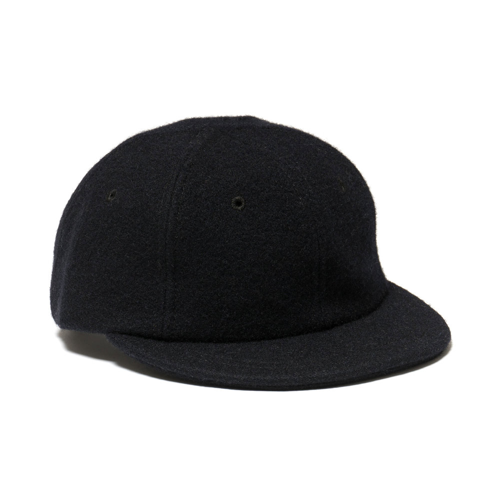 WOOL MESA CAP SHORT BRIM BLACK $105