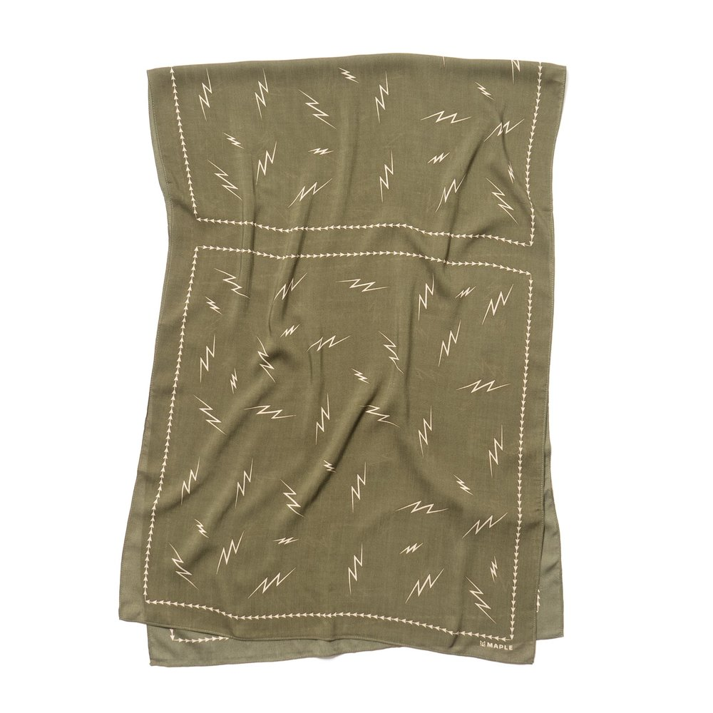 BIG BOLTS SCARF OLIVE $130