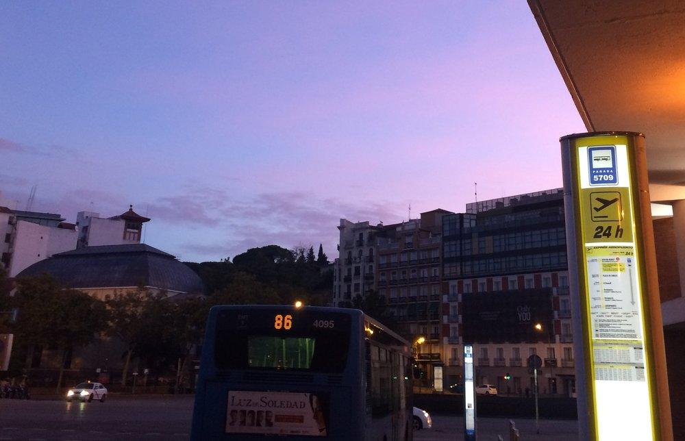 Expres Aeropuerto bus stop sign at Atocha