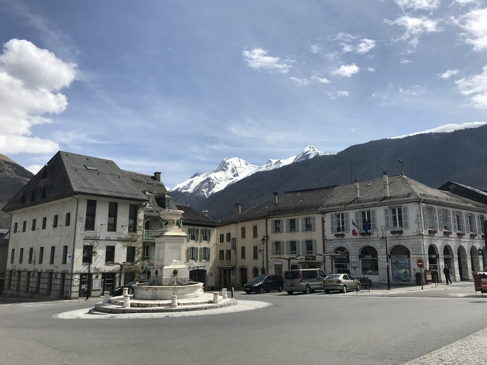City centre of Laruns, France just minutes away from hiking