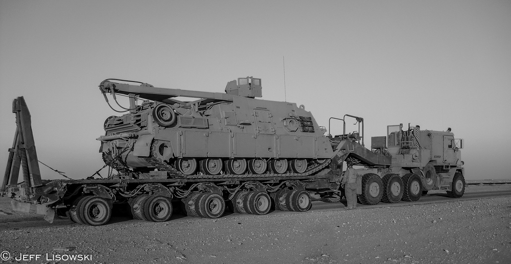Our HET with an M88 tank recovery vehicle. (140,000 lb. payload) January 2010 in the Al Najaf desert.