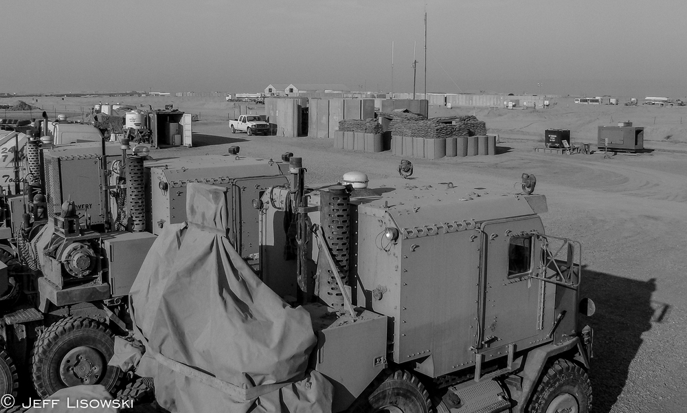KBR's Cedar II recovery department on the eastern edge of the camp. We had four HETs at one point along with four EMPL wreckers, probably one of the largest recovery departments for KBR in Iraq.