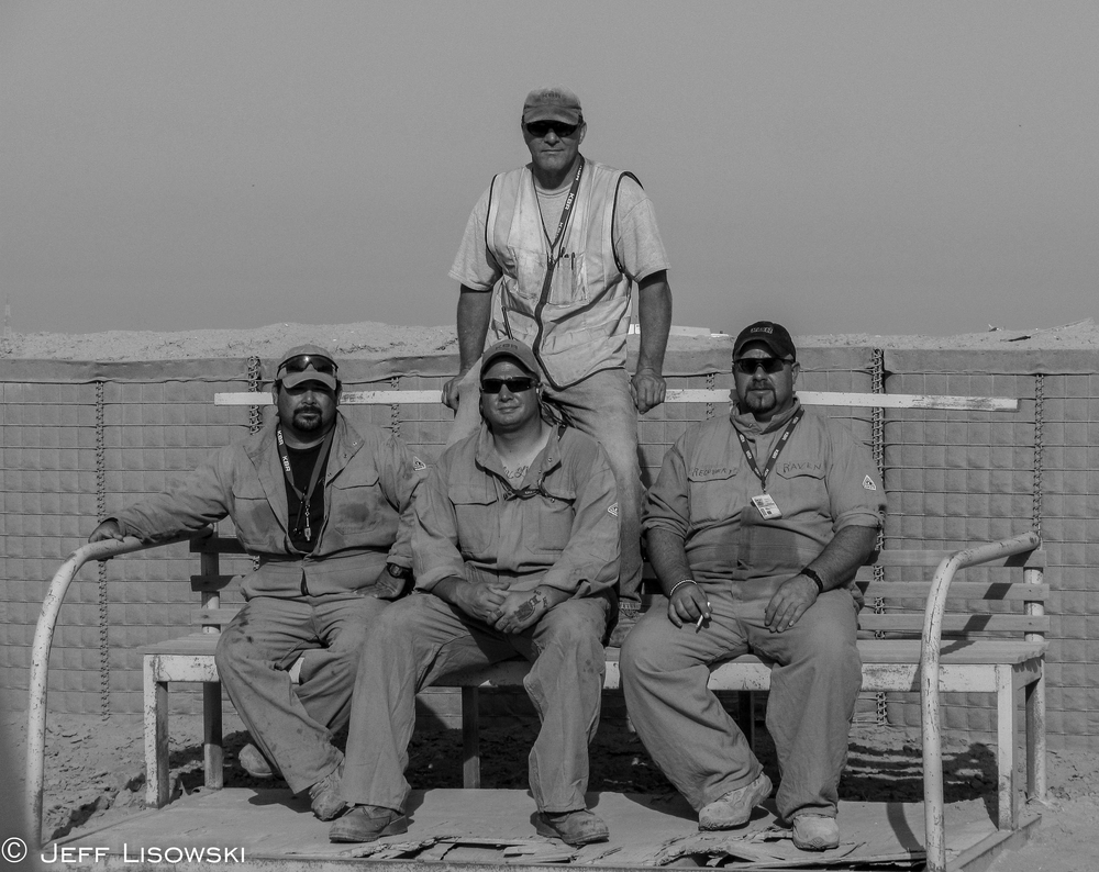 "Last day on Cedar II: From Left to Right: Jorge ""Half Track"" Ortiz, myself, Ken ""Raven"" Brower and Joe ""Poor Dog"" Emery, standing."