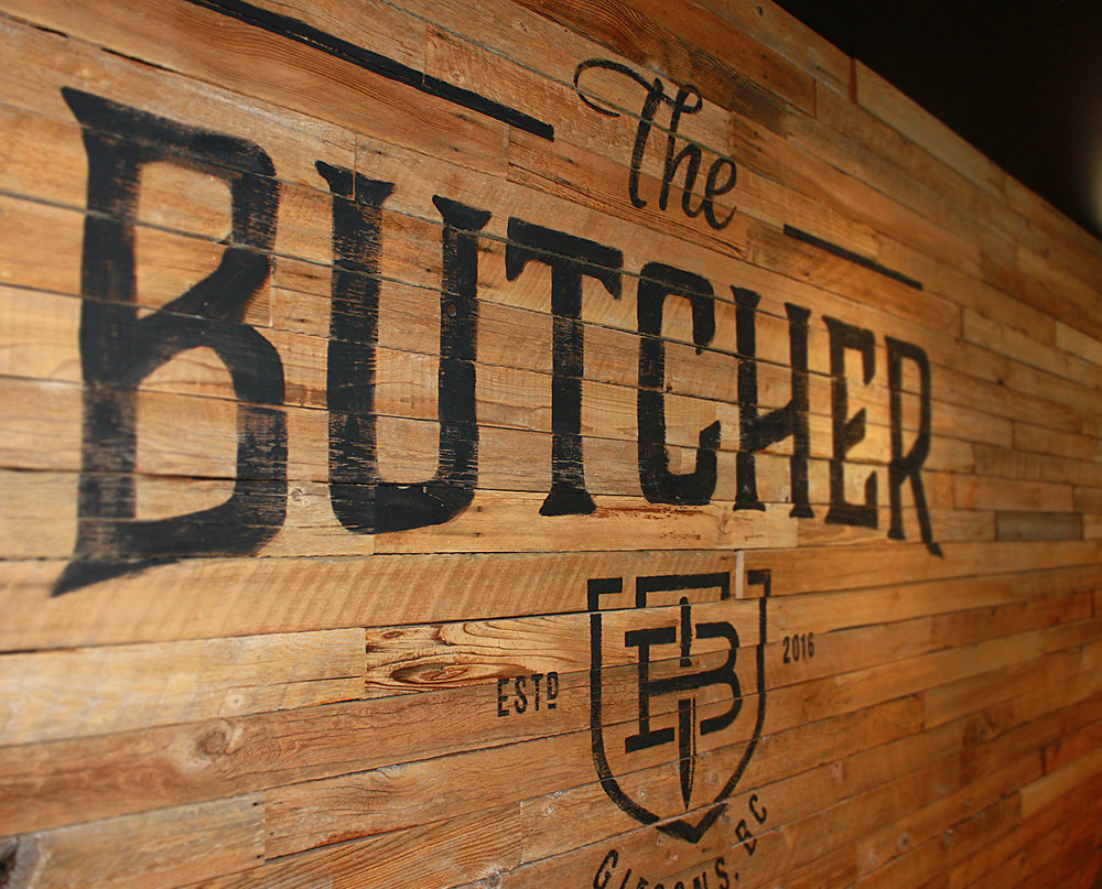 Hand painted sign on reclaimed wood for The Butcher