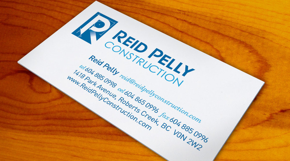 Business cards for local contractor Reid Pelly.