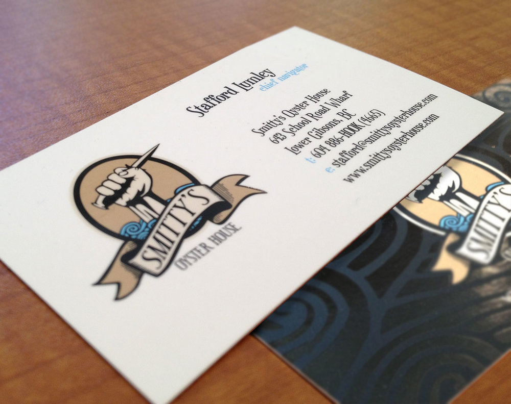 Spot gloss varnished cards for Stafford at the Oyster House.