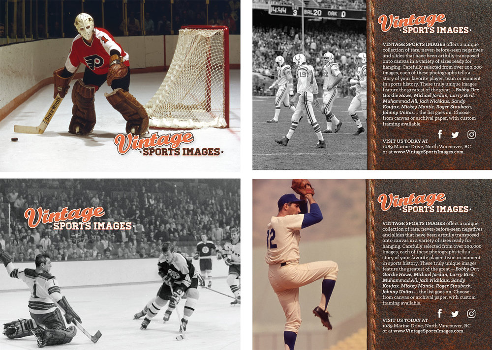 Two postcards produced for Vintage Sports Images in North Vancouver.