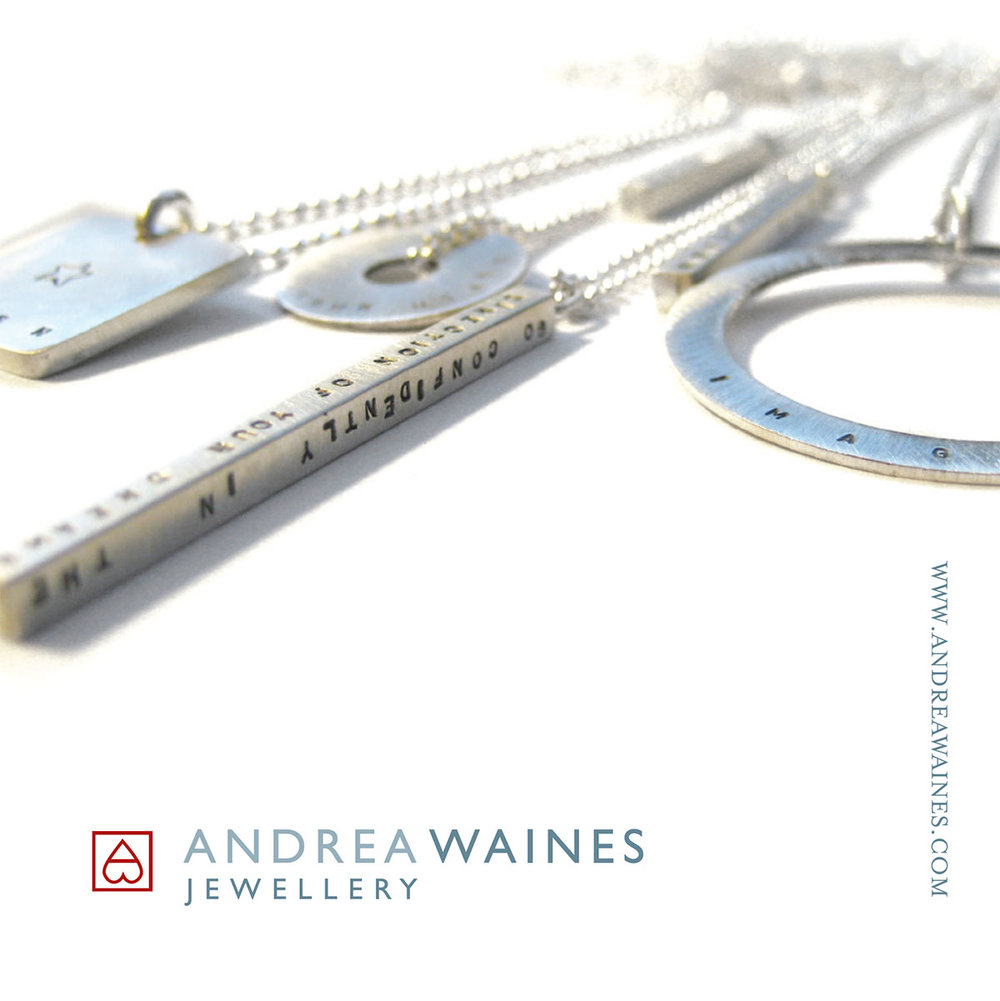 Marketing material for Andrea Waines Jewellery in North Vancouver.