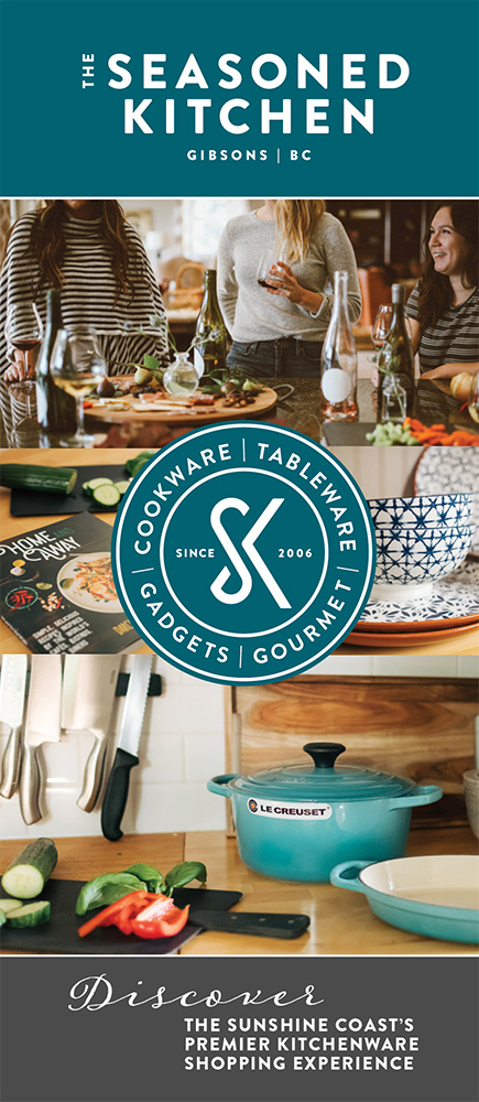Rack card brochure for The Seasoned Kitchen in Gibsons.