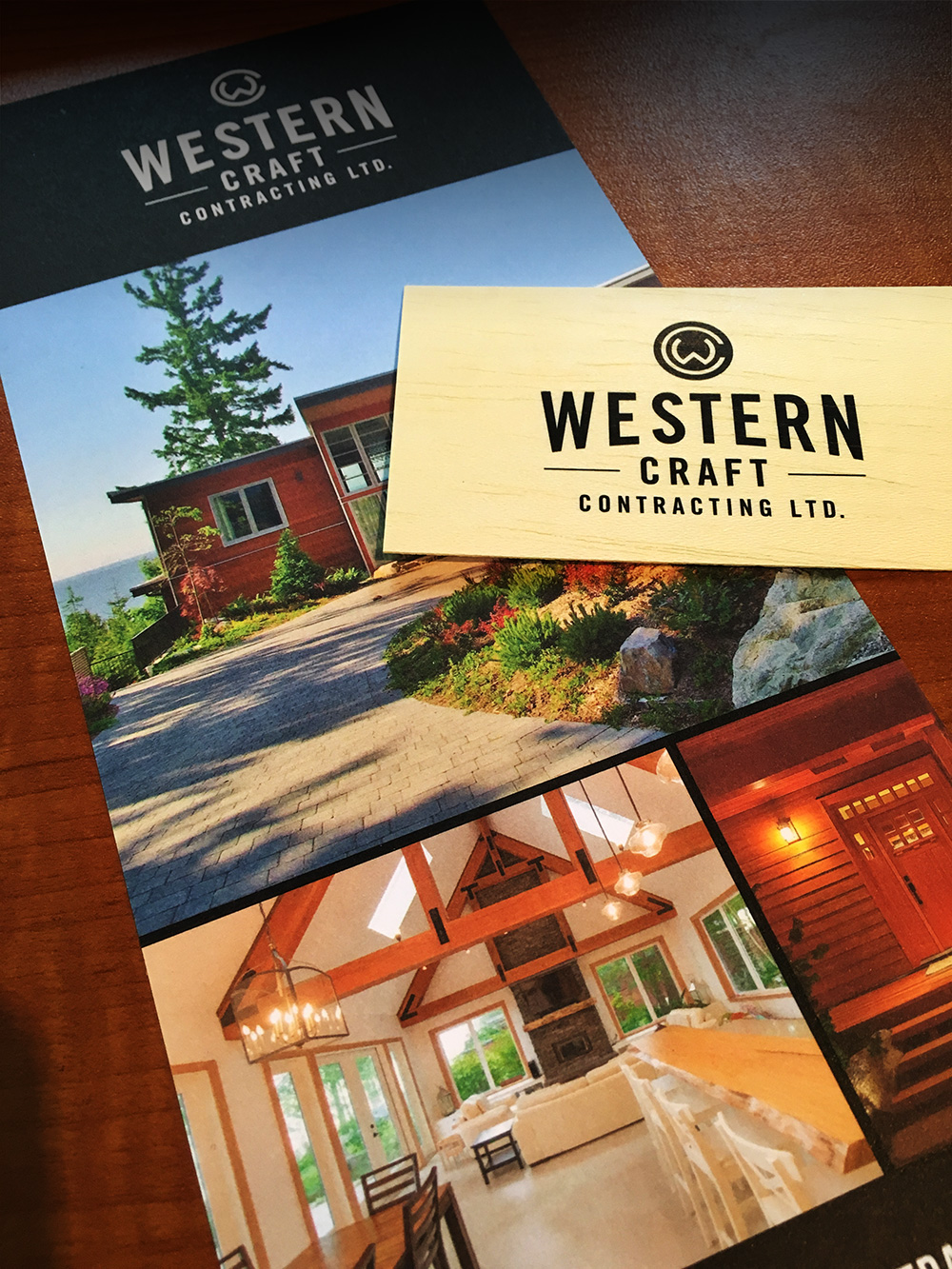 Business cards (yeah… that's real wood) and brochure for Ray and Cin at Western Craft Contracting.