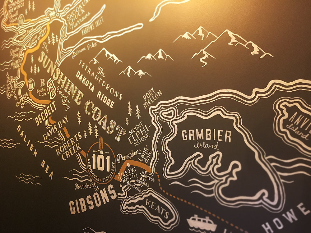 """Our hand painted Sunshine Coast """"Ale Trail"""" map at The 101."""