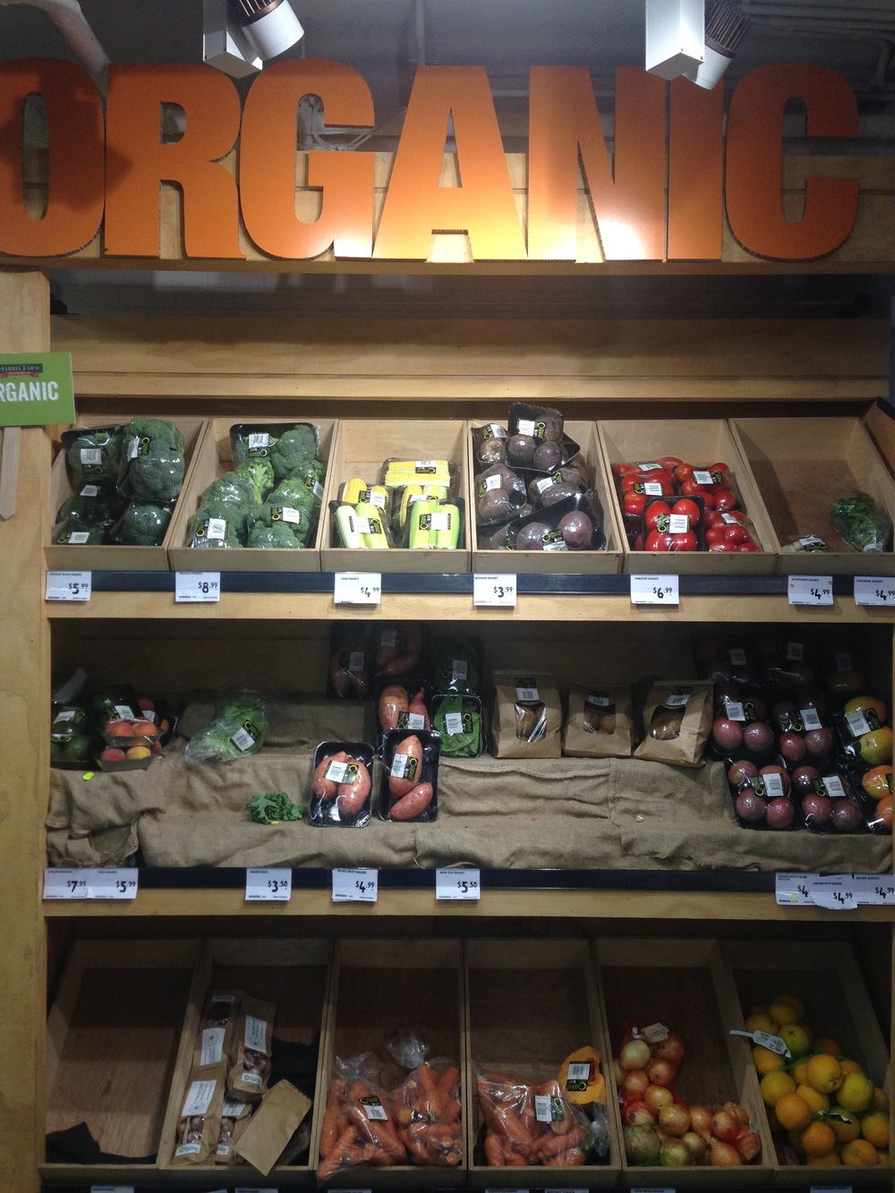 The organic produce section of Harris Farm in Bondi Beach, although this is a common display in all the Harris farm stores I have been in.