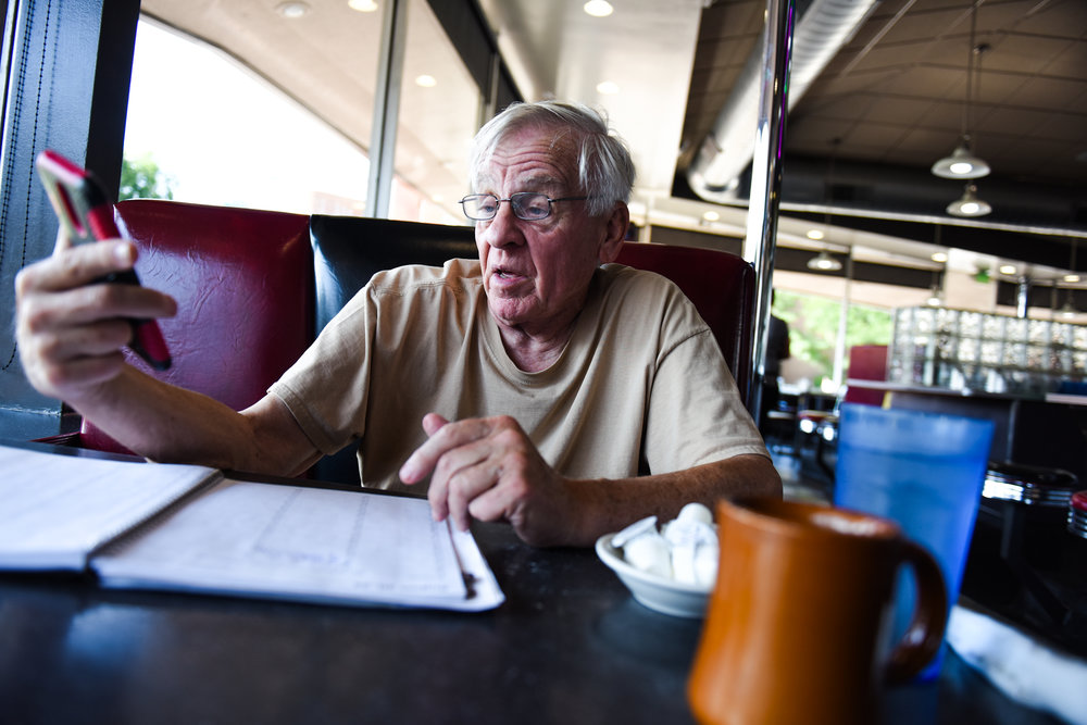 """5 p.m.: Jim Gumpert, 76, is originally from Kansas City but moved to Denver in 1982. Gumpert lives in Lakewood but prefers the diner to other late-night options. """"Of places from the '80s, the Denver Diner still has an atmosphere. There's a mix of people here,"""" he says. Gumpert manages a few properties and prefers to come to the diner to do his work."""