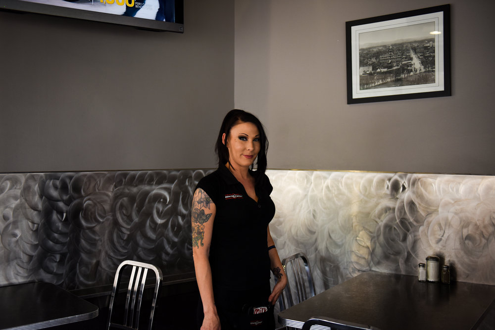 """6 p.m.: Lauralei Holliday has worked at the Denver Diner for a few months. Holliday is a Denver native and has been a server at many spots in the area, including Great Scotts and Tom's Diner, and remembers wanting to work at the Denver Diner. """"This was the mecca for me. The location, the hours,"""" she says."""