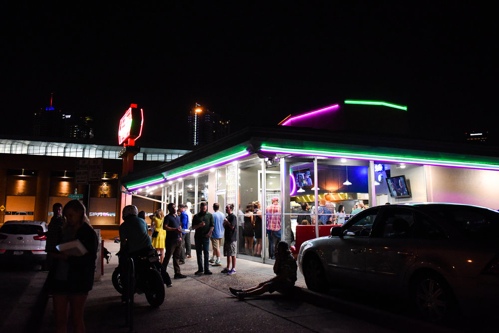 3 a.m.: Lyfts, pedicabs, patrons waiting for tables and a motorcycle cluster outside the Denver Diner.