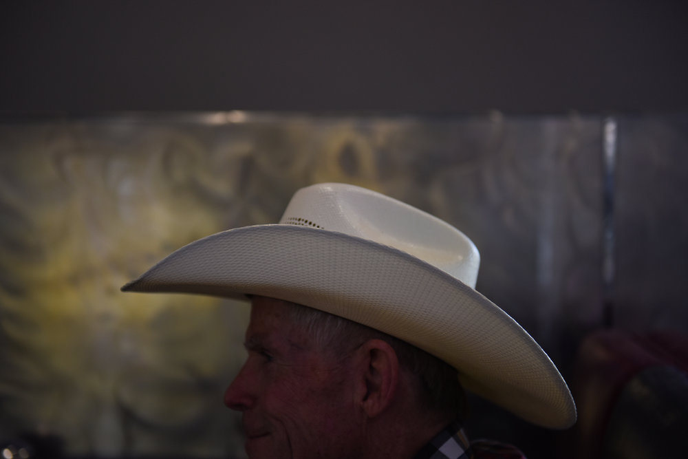7 a.m.: Mike Carter sits in a booth as he waits for another guest to arrive.