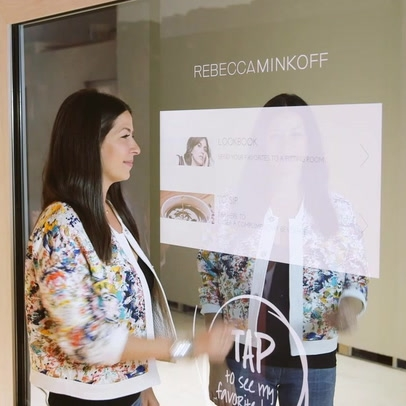 Rebecca Minkoff - was the first brand to debut 'magic mirror' technology in its stores. Magic mirrors allow customers to request additional sizes, receive recommendations, and shop other styles all without leaving their fitting room!