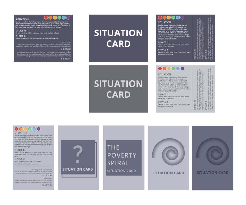 Iterations of situation card for The Poverty Spiral