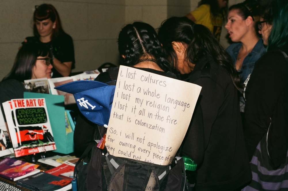 Zine Fest Attendee's Backpack Protest