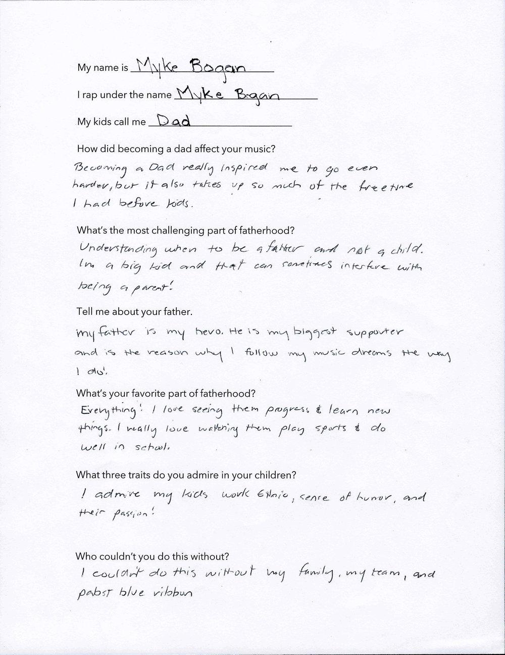 Myke Bogan's Questionnaire