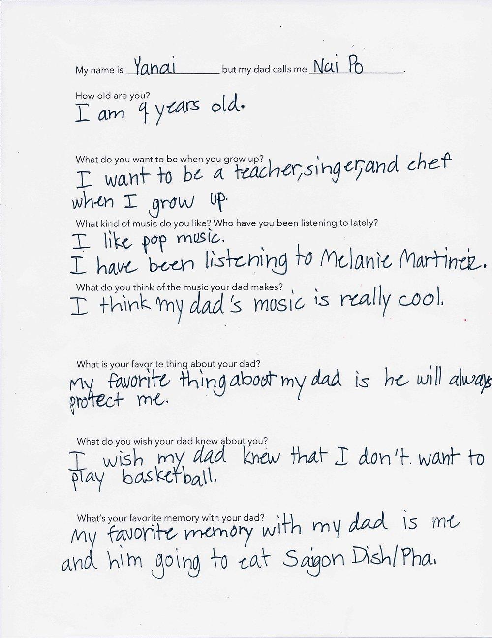 Yanai's Questionnaire