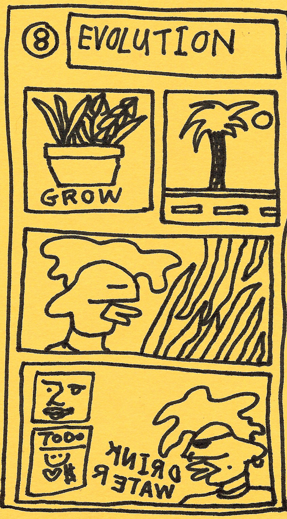"""- 8- Willoughby is about 2 years old now. Do you see them developing and finding their voice? Can you see how you've evolved as a human through Willoughby?""""This is the drawing that started the cartoon series...this grow plant and travel plant. Then I started placing Willoughby into place then he grew into doing shit. He makes art and talks and has a to-do list. He's hella active and shit. Willoughby evolved from being a stand in to being the main center of attention.""""Do you feel like you've evolved from being a stand in to being ok in the spotlight?""""Yeah, definitely."""""""