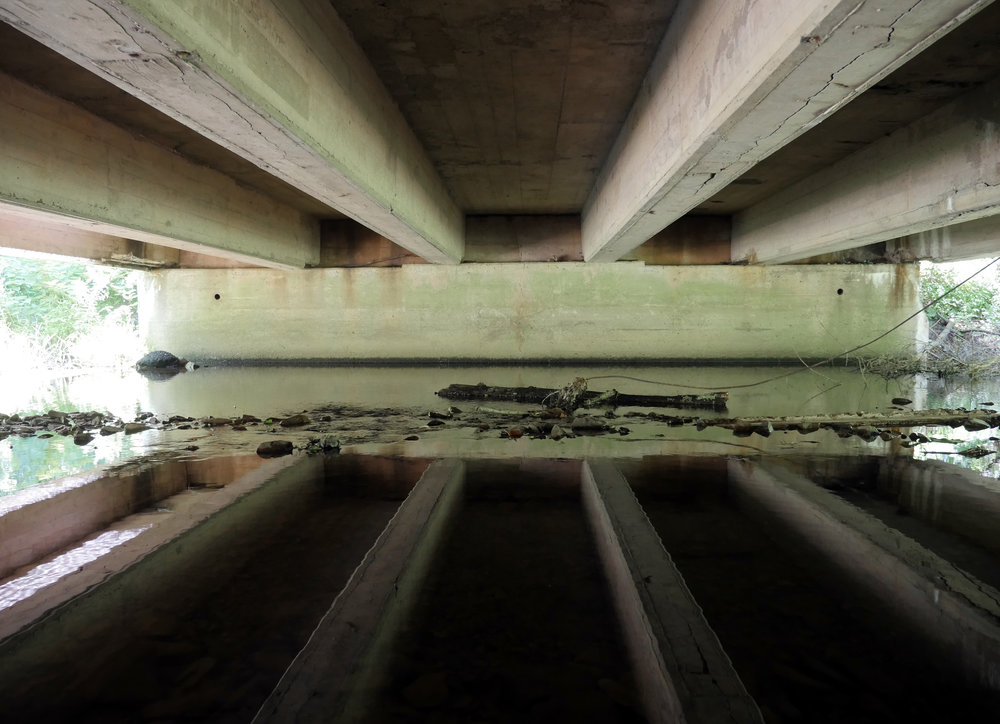The underside of a bridge in Hopewell, New Jersey.