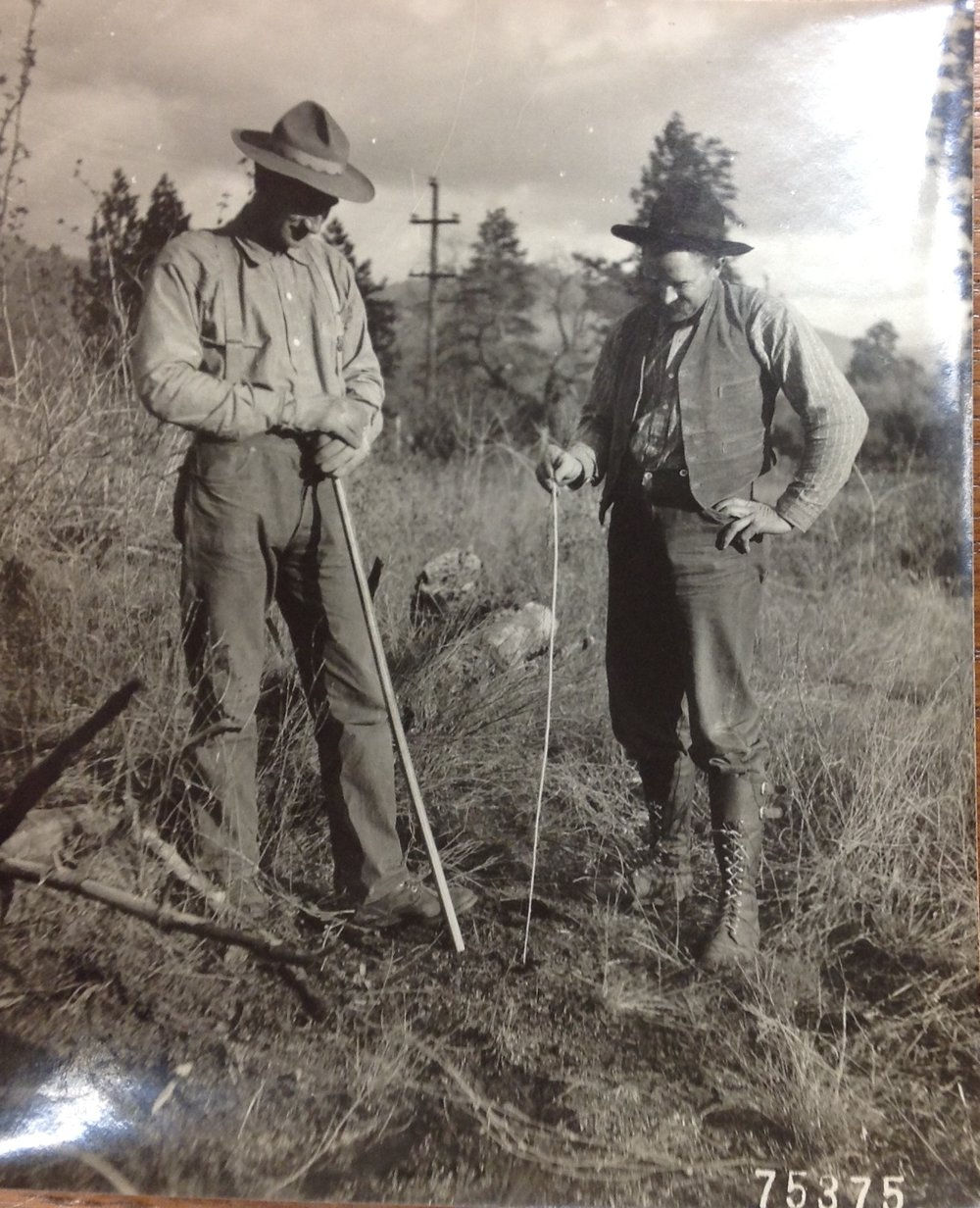 """Sierra National Forest North Fork. Planting Sugar Pine Seedlings (Long root). Chester Jordan, (left). Hale Mace (right).""  From the narrative of H.J. Tompkins. Old Timers Collection, Gifford Pinchot Collection. Library of Congress Manuscript Division."