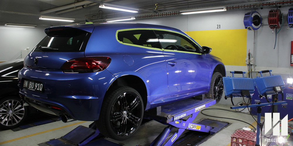 Trims masked on a Volkswagen Scirocco R, preparation for Paint Correction,