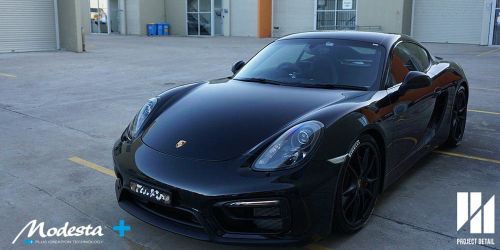 Porsche Cayman GTS MY16 fully wrapped in XPEL PPF & coated with Modesta BC-05