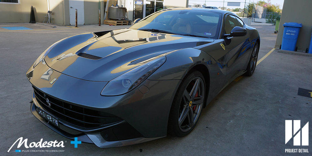 Ferrari F12 Berlinetta in Grigio SIlverstone Metallic coated with Modesta BC-05 leaving a 'candy like gloss' and a surface that is extremely easy to clean.