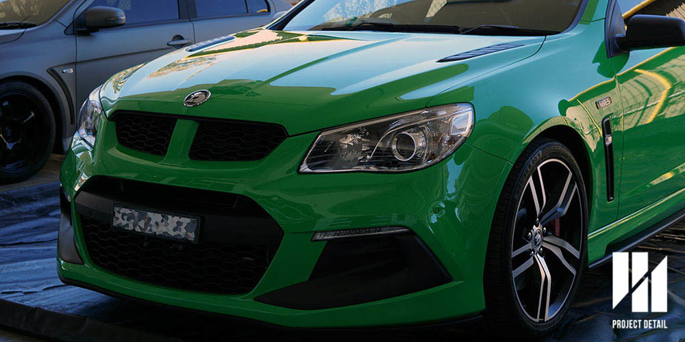 2017 Holden HSV VE Series 2 Clubsport in Spitfire Green protected with Suntek PPF with a 'Partial Front' kit.