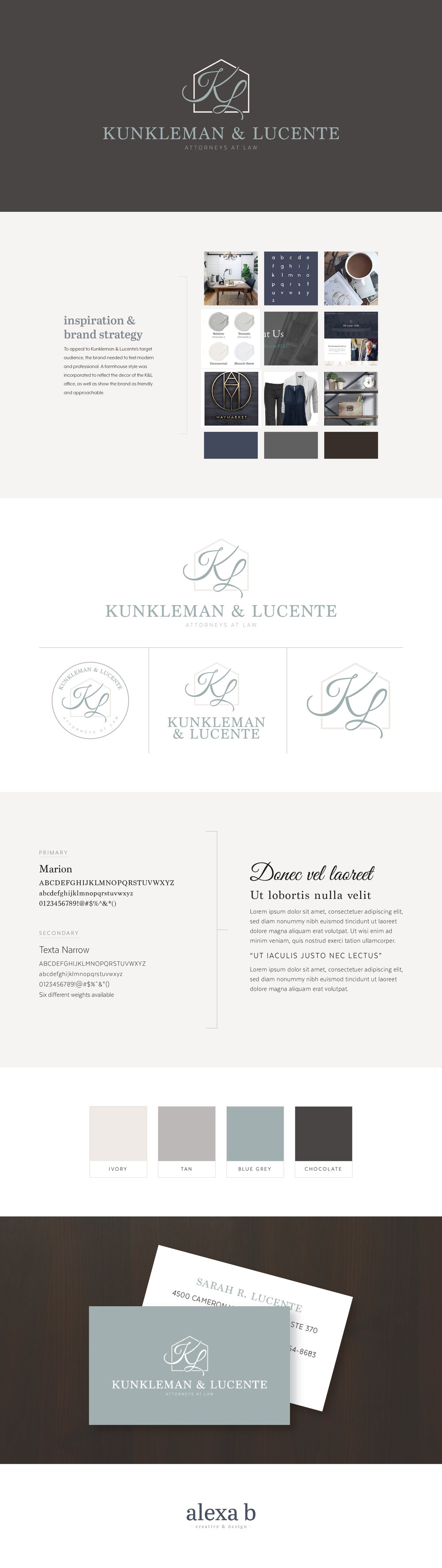Brand design for Kunkleman & Lucente, a law firm based out of Charlotte, North Carolina. Designed by Alexa B. Creative & Design