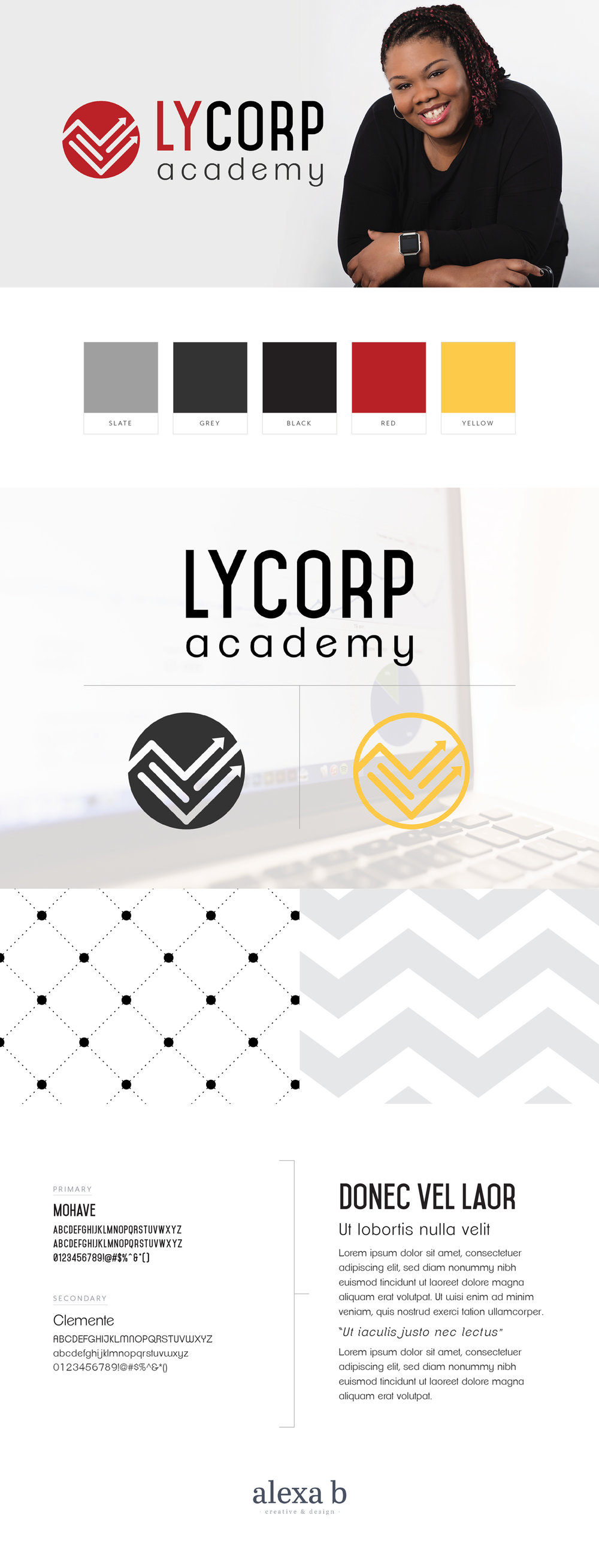 Branding for LyCorp Academy, a business intelligence and analytics consultancy. Designed by Alexa B. Creative & Design in collaboration with Color + Market.