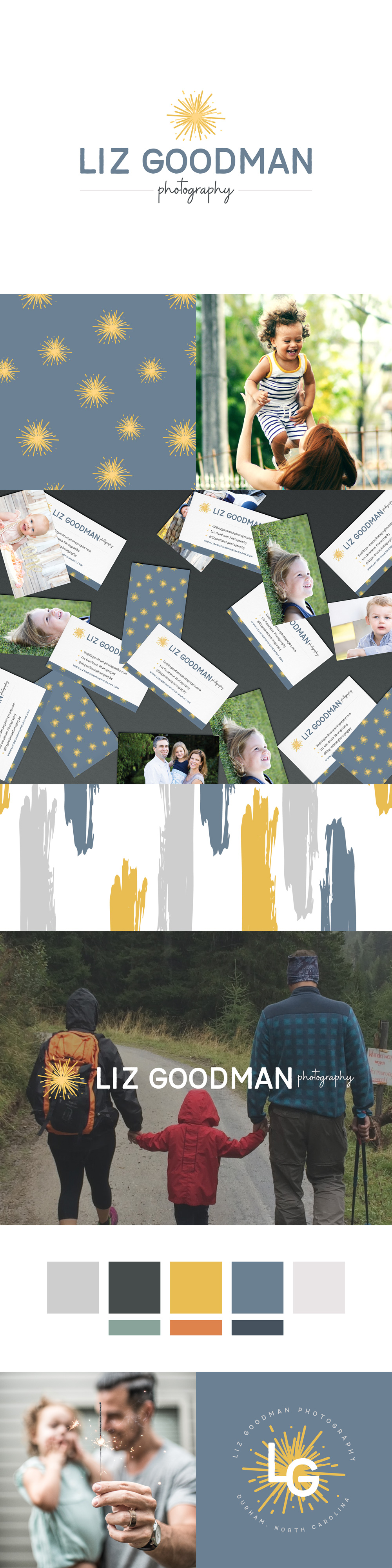 Brand board and brand identity design for Liz Goodman Photography, a family and lifestyle photographer in Raleigh-Durham | Alexa B. Creative & Design