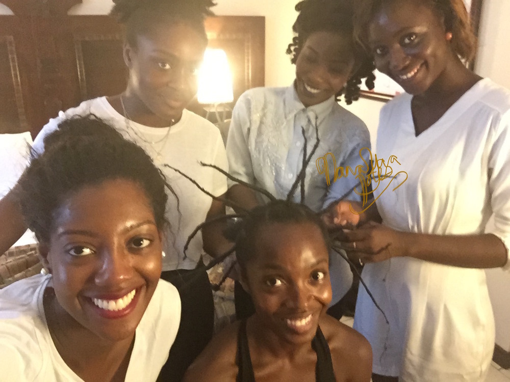 "I really wanted my character Nana Yaa to  highlight a classic African hairstyle  from the golden years  this season, so I suggested  what I personally  call ""The Threaded Crown""- what better way to showcase it than on her birthday in episode 9?   Pictured Sylist  Afua Rida  and Stylist Assistants  Baboa Techie-Menson, Marian Sama Fletcher and Kukuaa Ghansah"