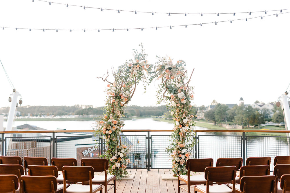 Ceremony site overlooking the lake and the Boathouse
