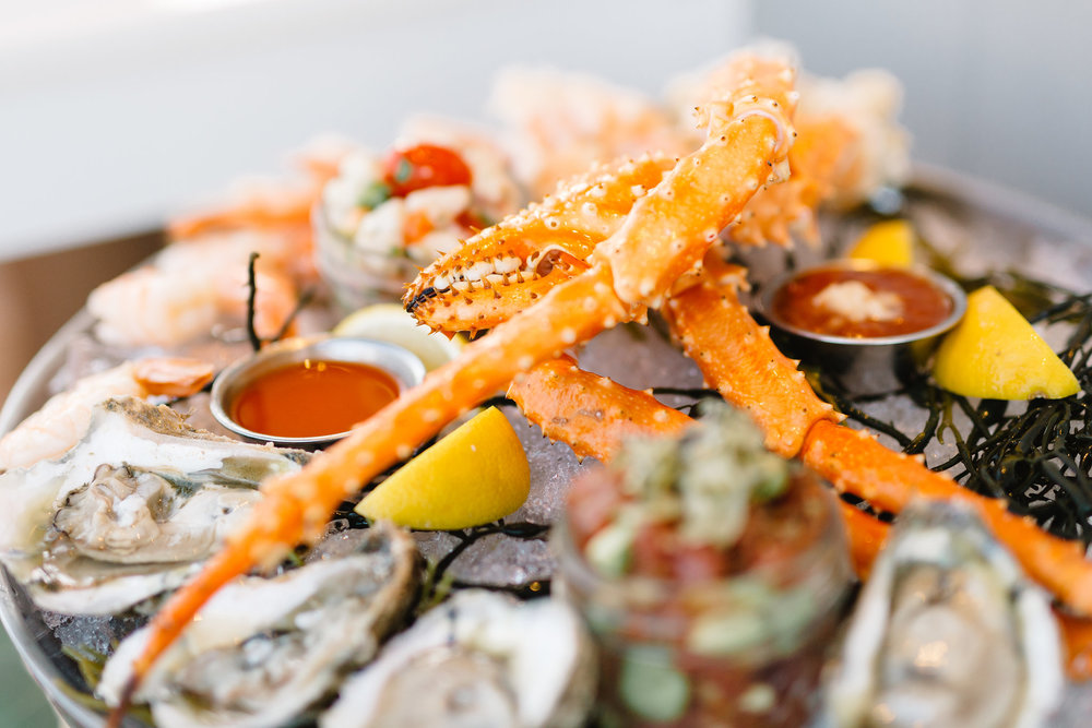 The seafood Tower (ABOVE) and Sea scallops (Below) by Paddlefish