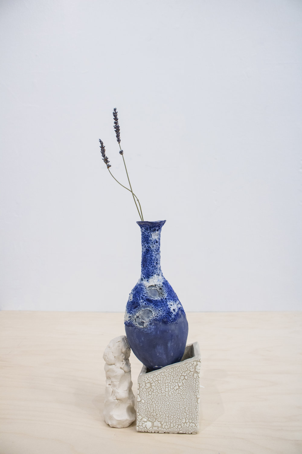 Bule Holder II, 2017, fired clay, glazed stoneware, lavendar